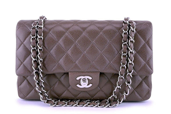 Chanel Taupe Beige Caviar Medium Classic Double Flap Bag SHW