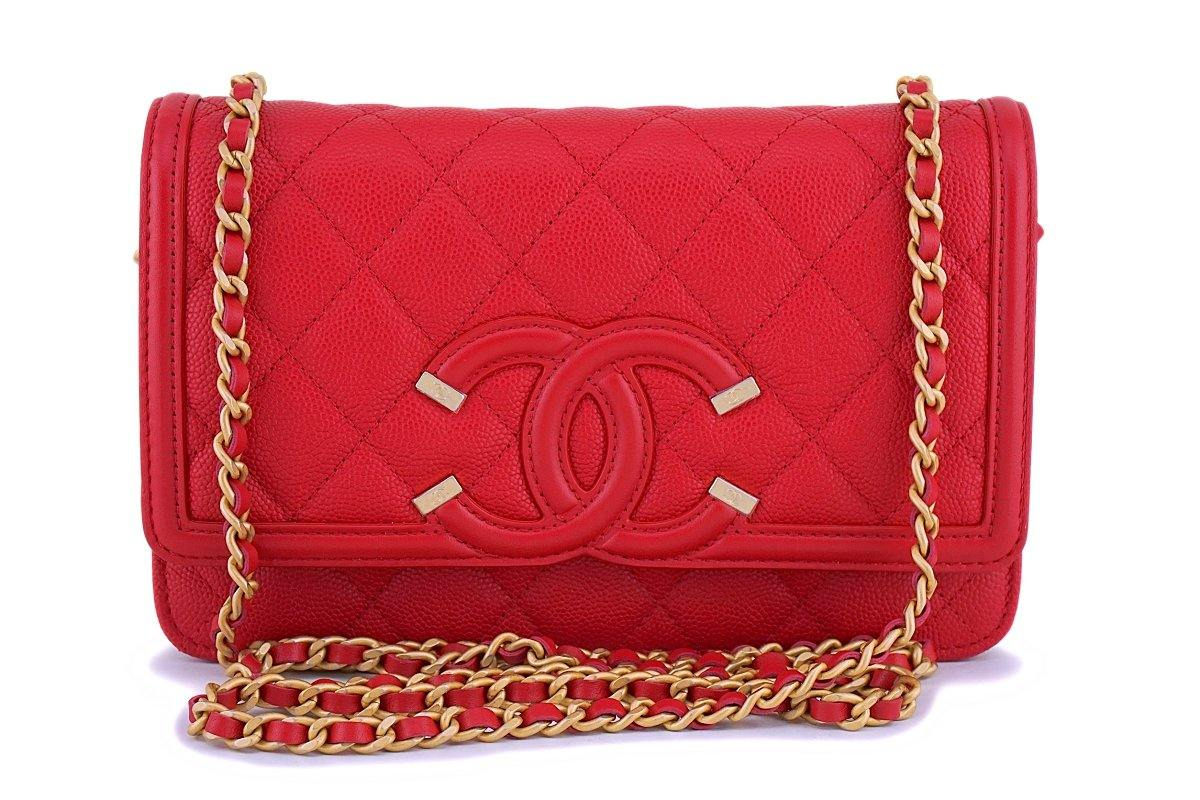 NIB 18P Chanel Red Caviar Filigree WOC Wallet on Chain Flap Bag