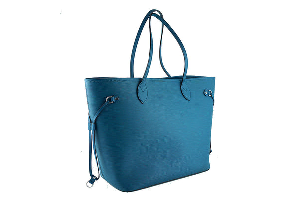 Louis Vuitton Neverfull Tote, Cyan Turquoise Blue Epi MM Bag