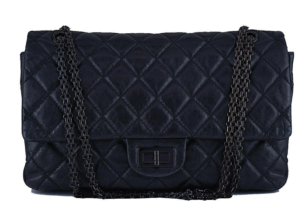 Chanel So Black 12in. 227 Reissue 2.55 Jumbo Classic Double Flap Bag - Boutique Patina  - 1