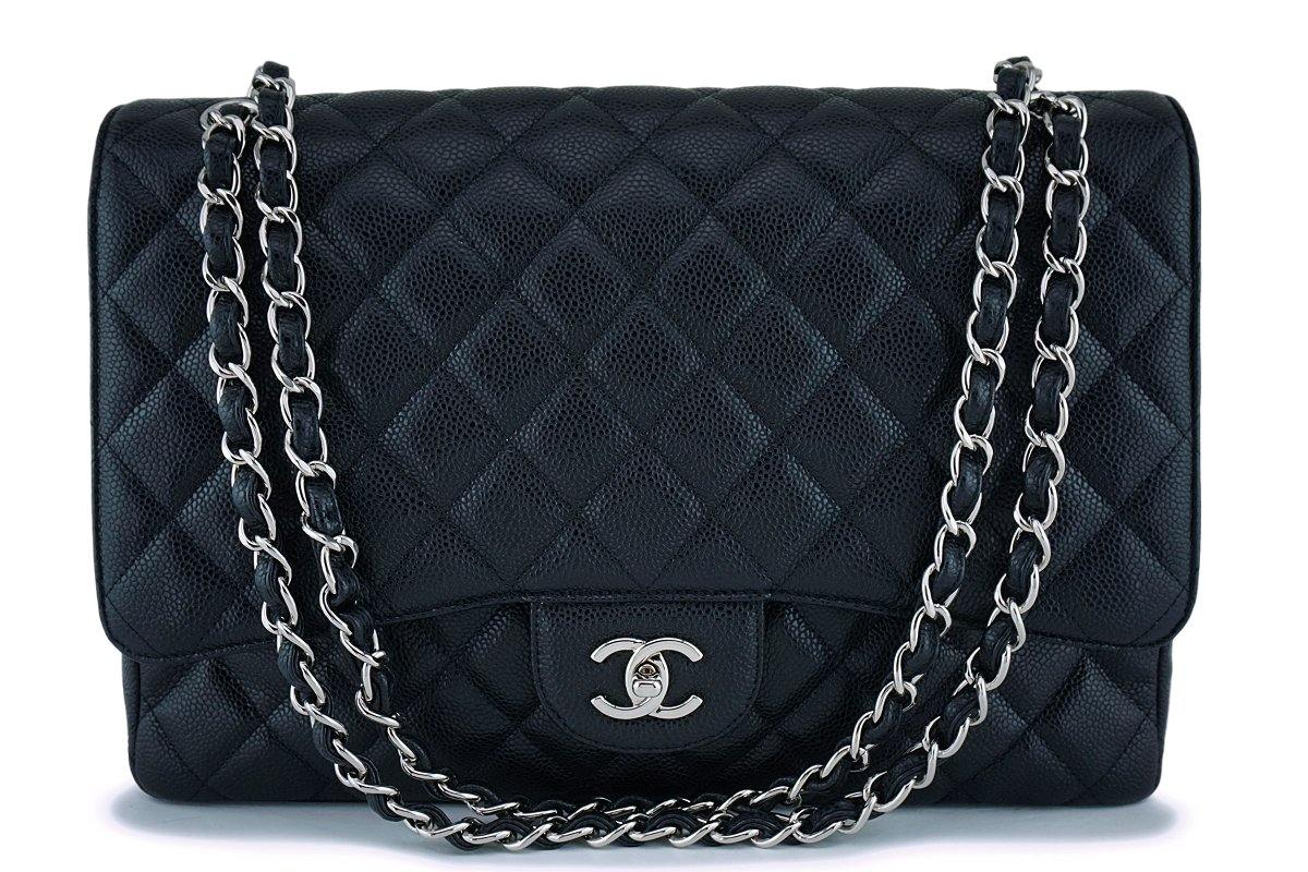 "Chanel Black Caviar Maxi ""Jumbo XL"" Classic Flap Bag SHW"