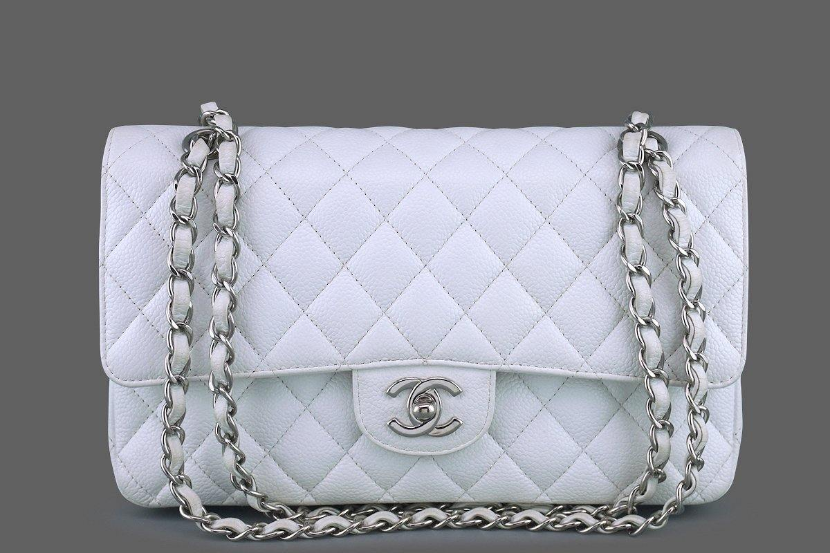 Chanel White Caviar Medium Classic 2.55 Double Flap Bag SHW