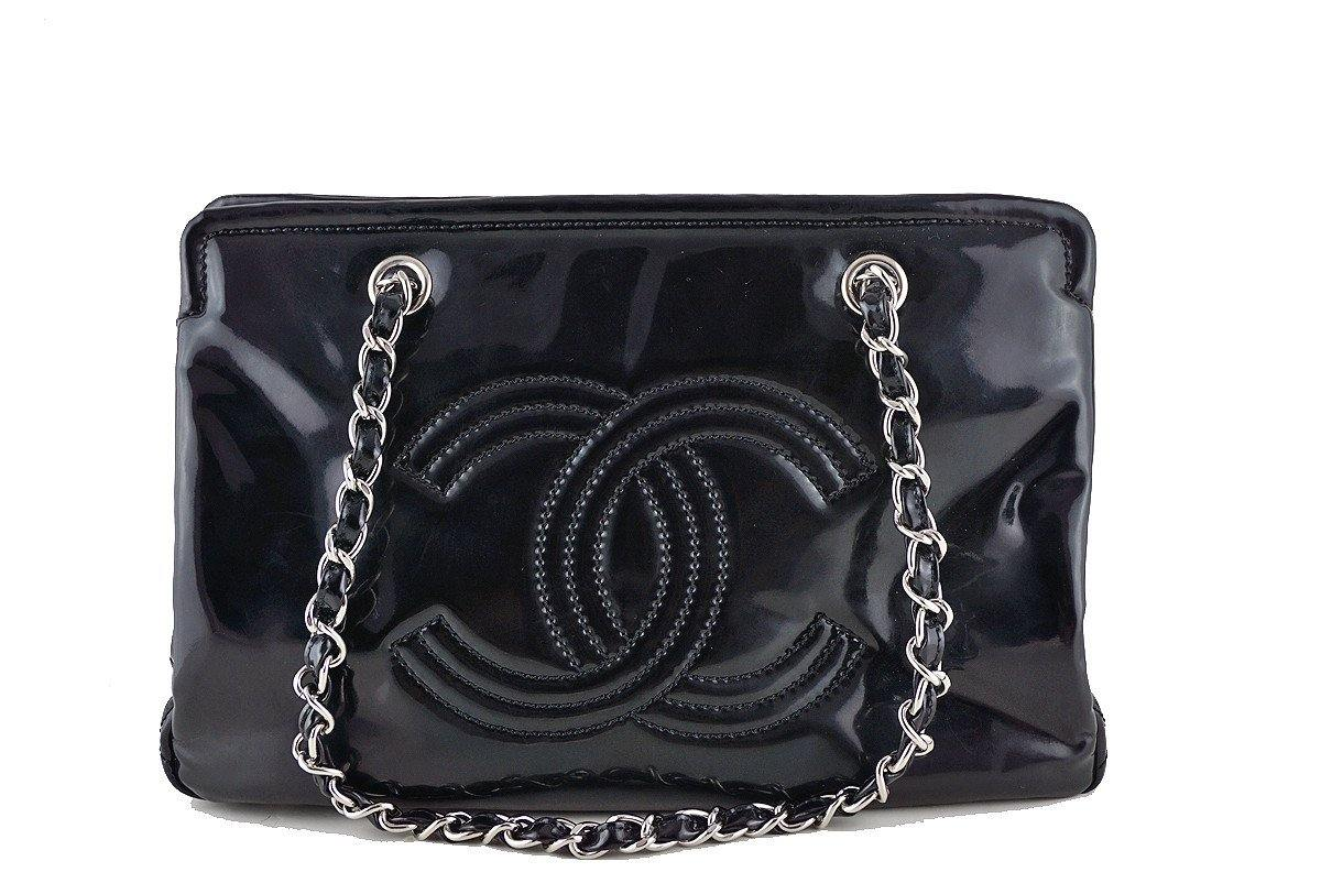 Chanel Black Patent Logo Grand Shopper Style Tote GST Bag