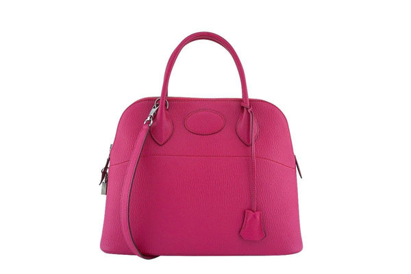 Hermes Rose Shocking Chevre Pink 31cm Bolide Tote Bag