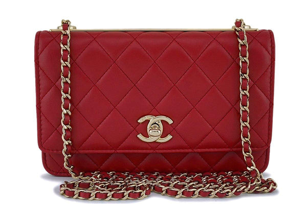 NIB 18K Chanel Red Trendy CC Wallet on Chain WOC Mini Flap Bag GHW