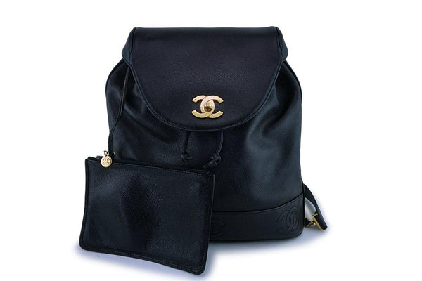 Rare Chanel Vintage Black Caviar Backpack Bag 24k GHW
