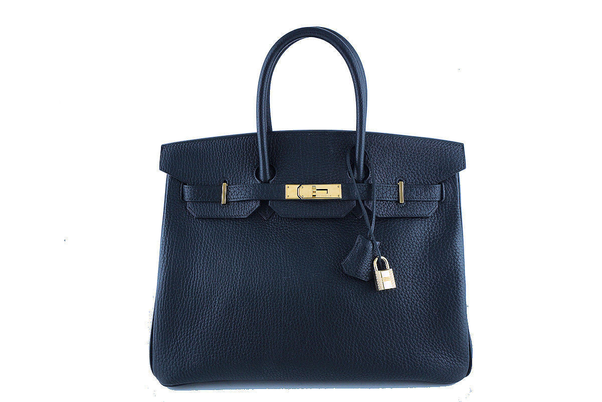 Hermes Birkin Bag, Black 35cm Fjord GHW - Boutique Patina  - 1