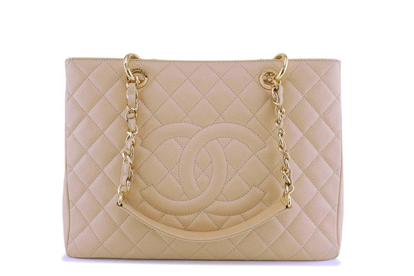 Chanel Beige Caviar Grand Shopper Tote GST Bag GHW