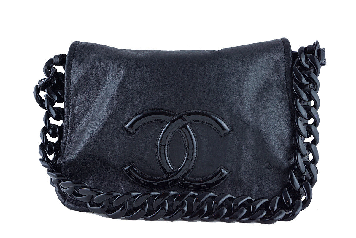 Chanel XXL Black Resin Modern Chain Jumbo Flap Bag