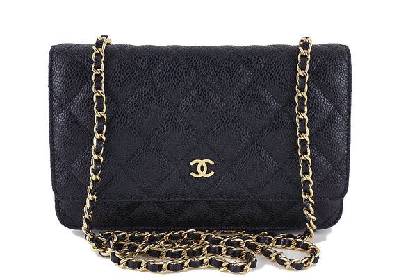 Chanel Black Caviar Classic Quilted WOC Wallet on Chain Flap Bag