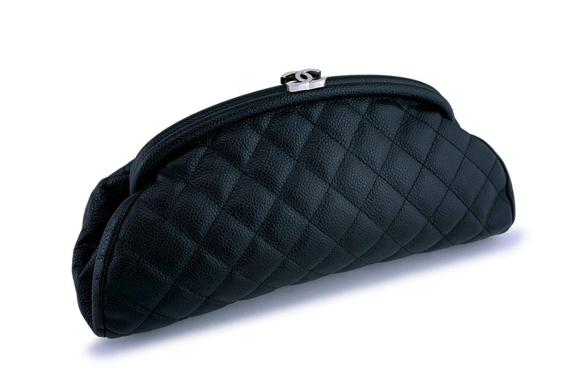Chanel Black Caviar Timeless Quilted Clutch Bag SHW