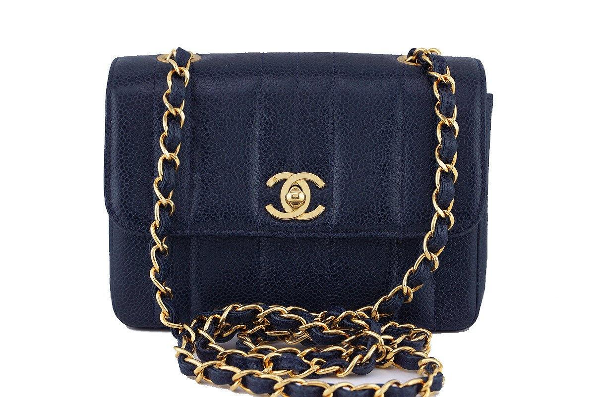 Chanel Vintage Caviar Navy Blue Mademoiselle Classic Mini Flap Bag