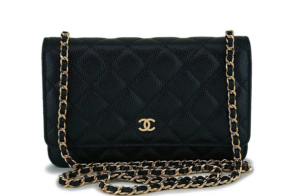 NIB Chanel Black Caviar Classic Wallet on Chain WOC Flap Bag GHW