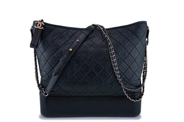 Chanel Large Black Gabrielle Hobo Shoulder Tote Bag