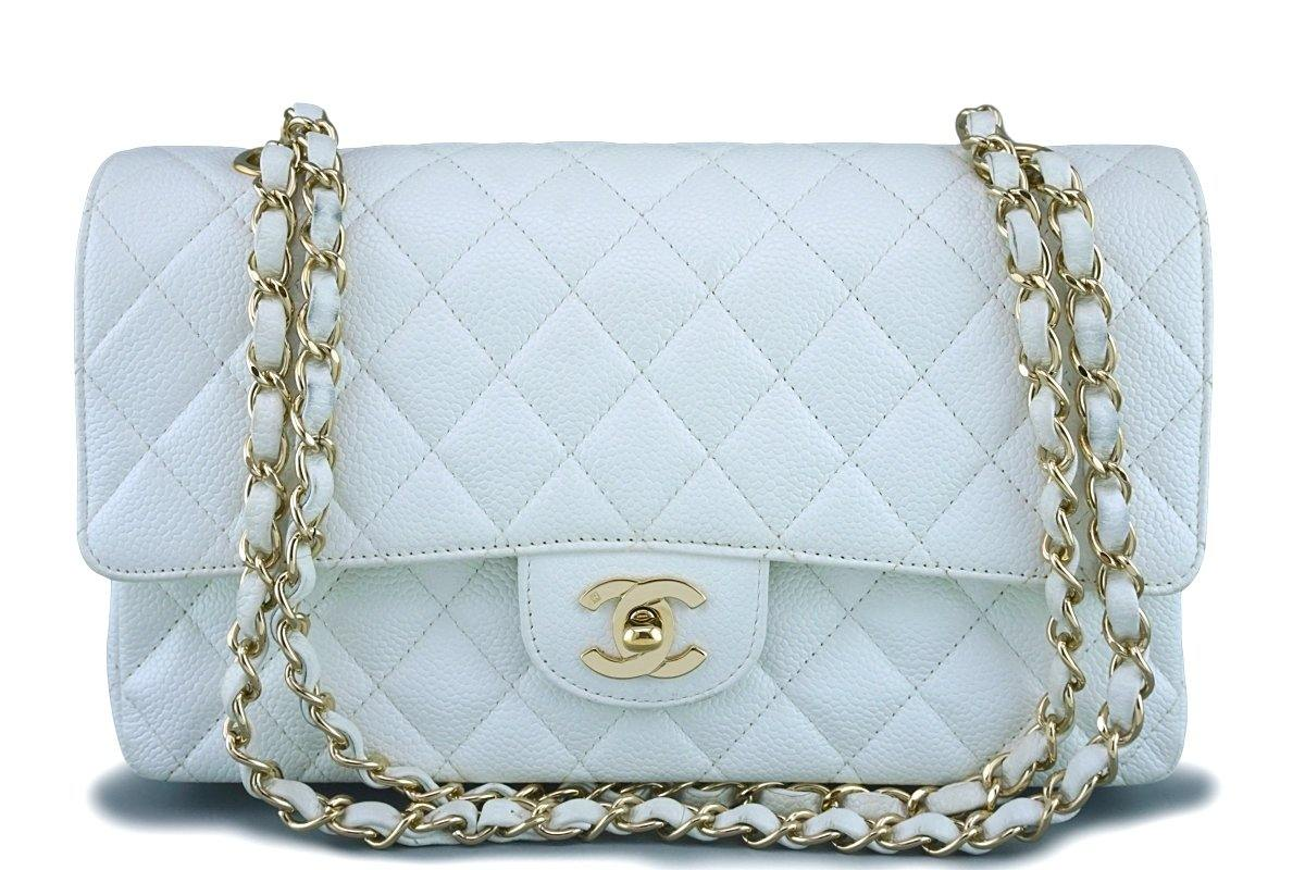 4ac8c8e489a3 Chanel White Caviar Medium Classic 2.55 Double Flap Bag 18k GHW