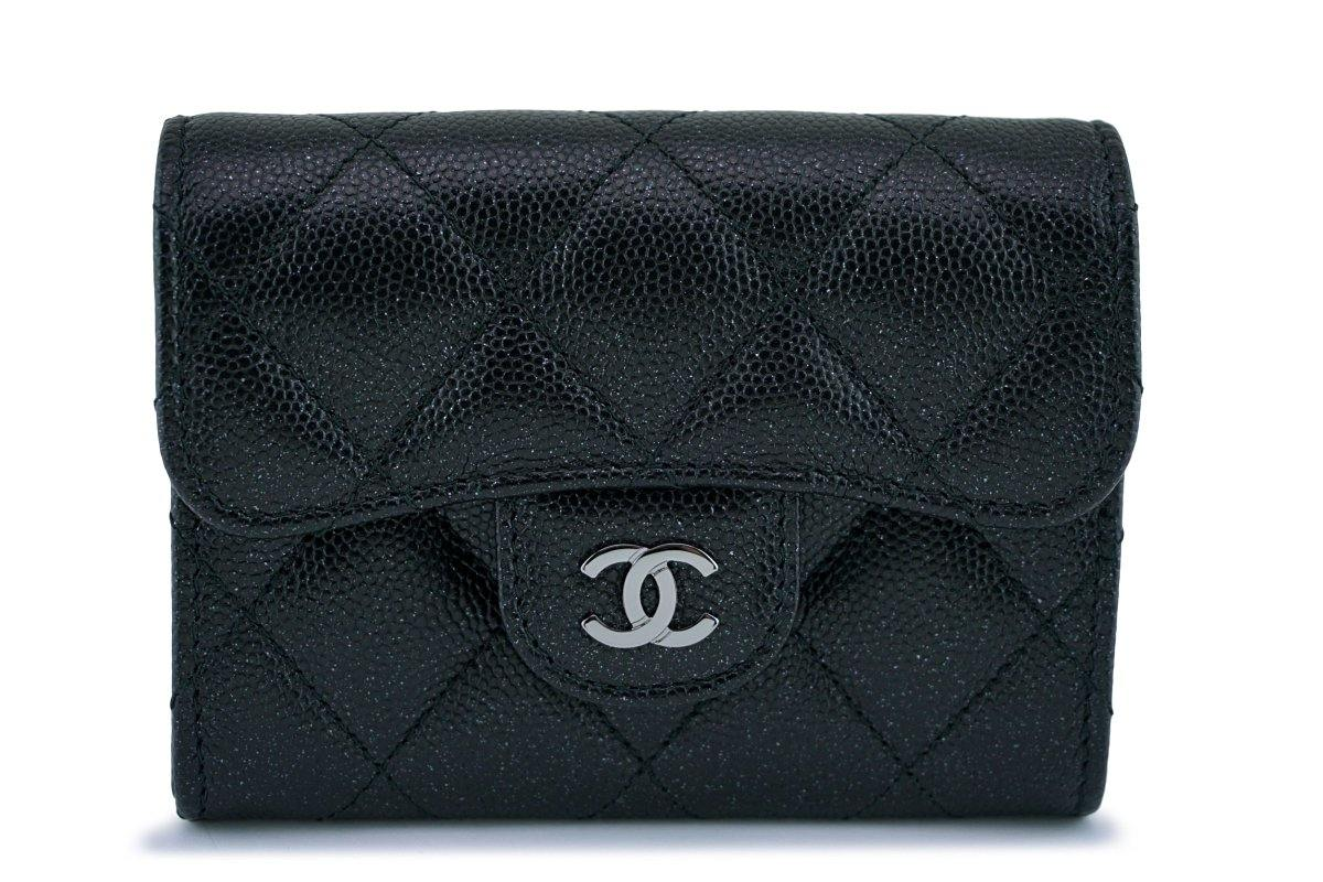 New Chanel Medium Iridescent Black Caviar Card Holder Wallet Case