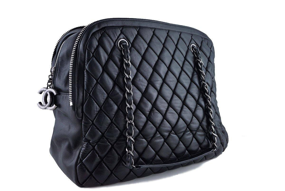 Chanel Black Large Bubble Quilt Zip Shopper Tote Bag