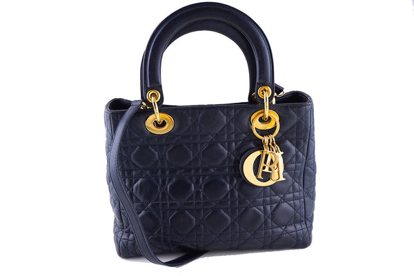 Lady Dior Navy Blue Quilted Classic Lambskin Tote Shoulder (Christian D.) Bag