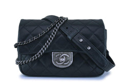 Chanel Black Grained Small Double Carry Classic Flap Bag