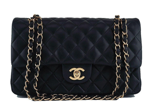 Chanel Black Lambskin Medium-Large Classic 2.55 Double Flap Bag 18k Gold Plated