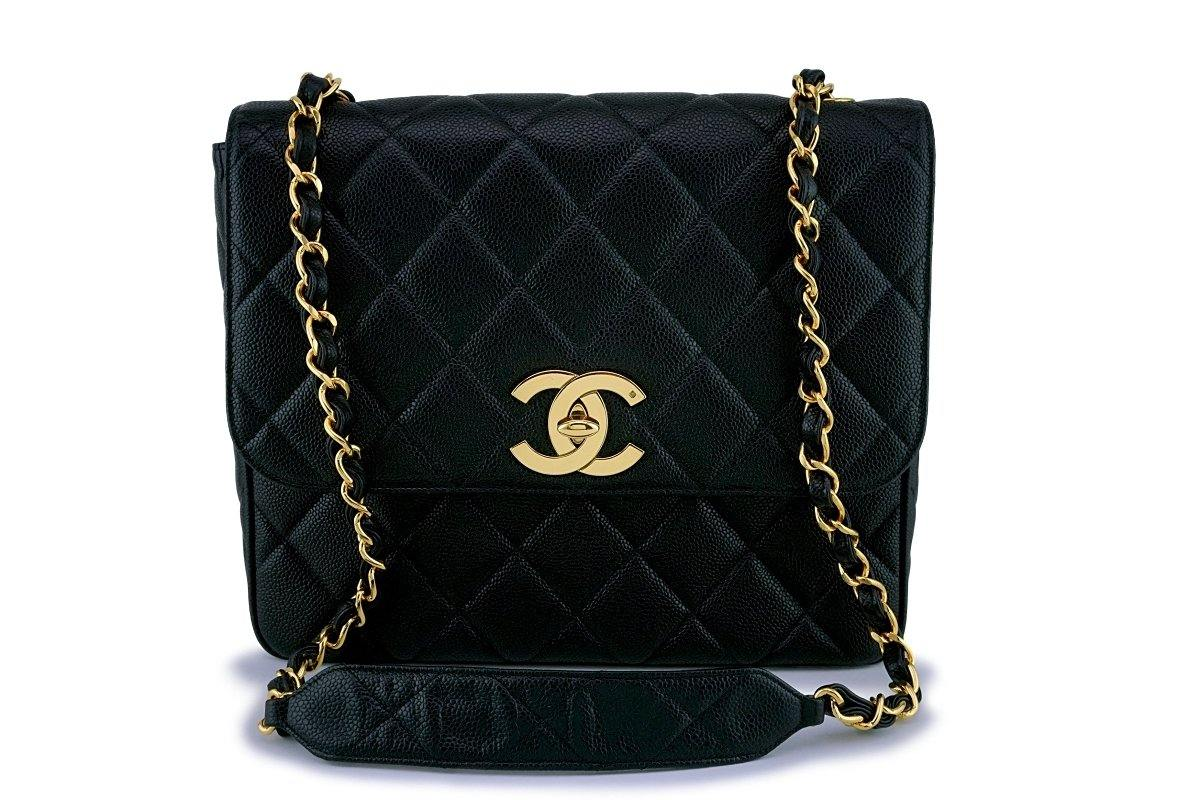 Rare Chanel Vintage Caviar Large/Jumbo Square Classic Flap Bag 24k GHW