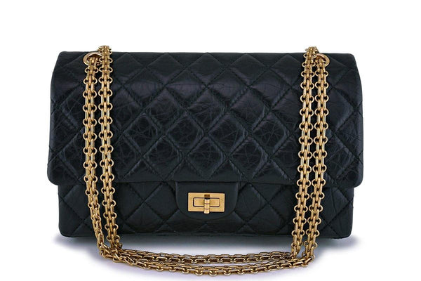 Chanel Black Aged Calfskin Classic Reissue 2.55 226 Double Flap Bag GHW