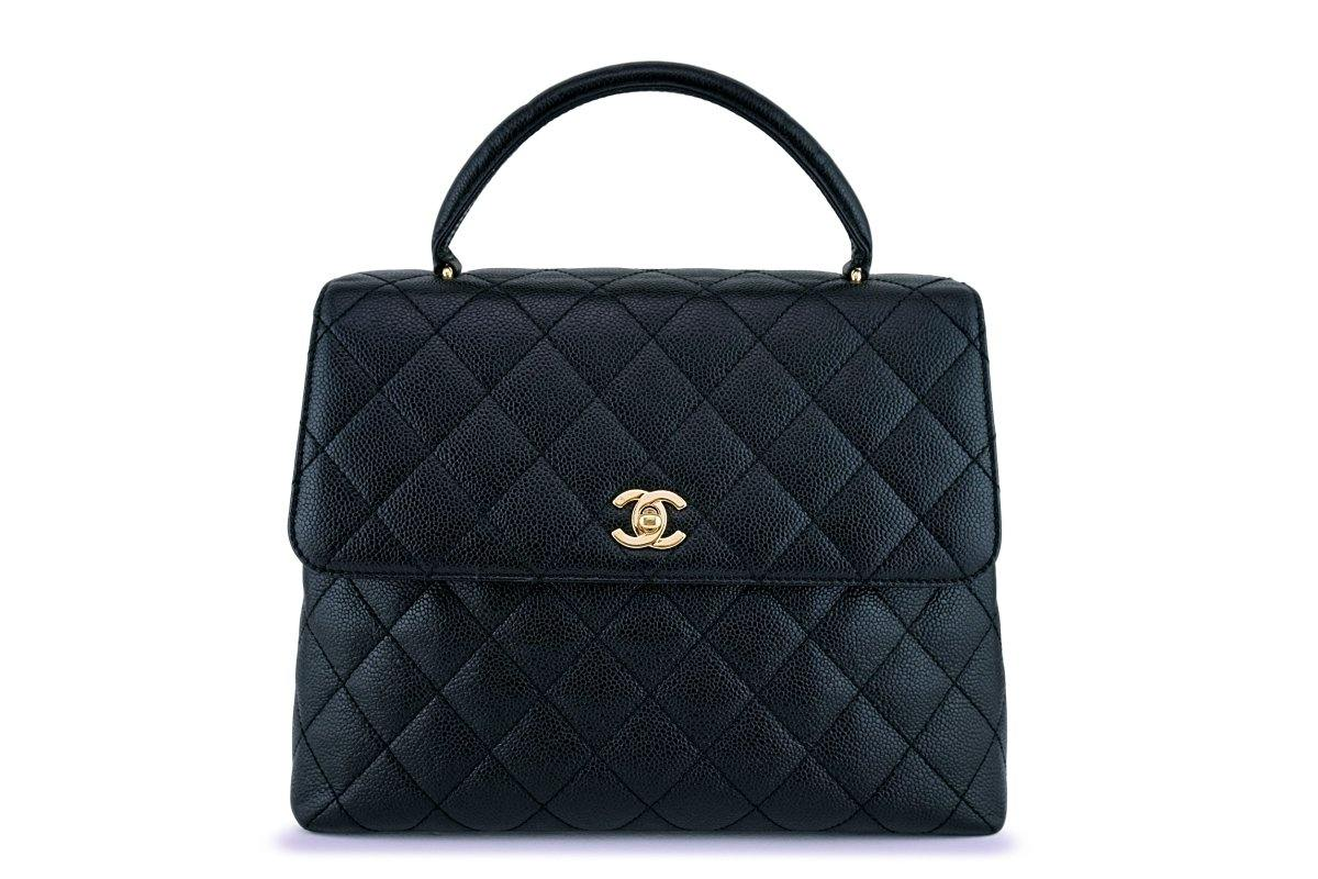 Chanel Black Caviar Classic Quilted Kelly Flap Bag 24k GHW