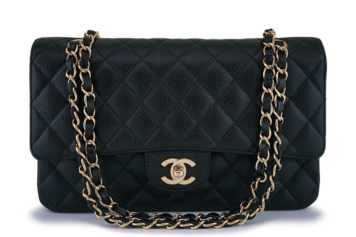 Rare Chanel Black Caviar Medium Classic Double Flap Bag 24k GHW