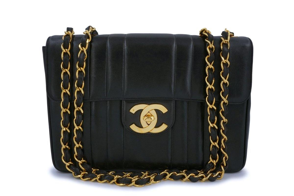 Chanel Vintage Black Mademoiselle Jumbo Classic Flap Bag 24k GHW - Boutique Patina
