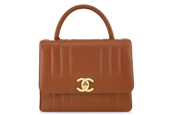 Chanel Vintage Camel Beige-Brown Mademoiselle Caviar Kelly Bag 24k GHW