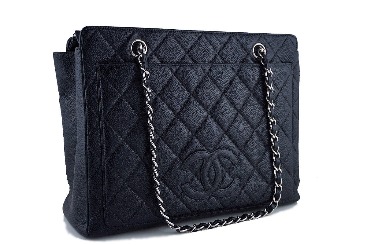 Chanel Black Caviar Timeless Logo Medium GST Shopper Tote Bag