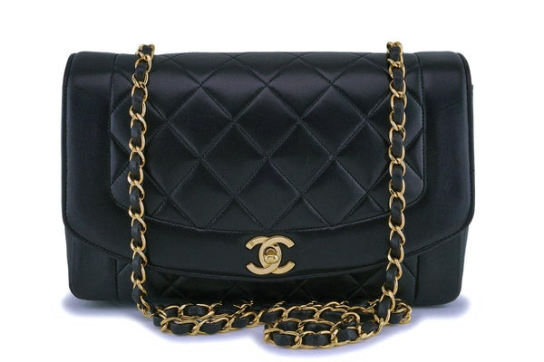 Chanel Black Vintage Lambskin Medium Diana Classic Flap Bag 24k GHW