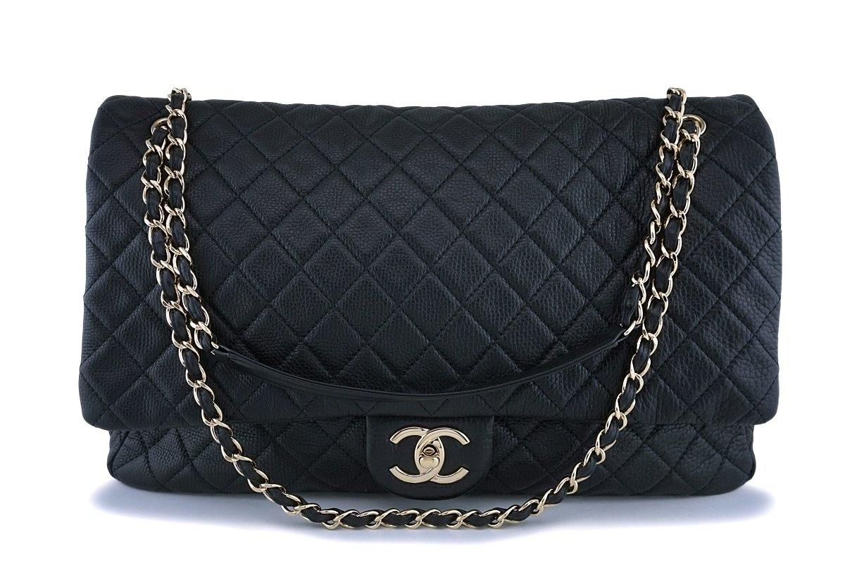 Chanel Black Ltd Airlines Runway Travel XXL Classic Flap Bag GHW