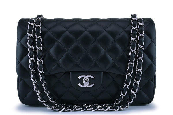 Chanel Black Lambskin Jumbo Classic Double Flap Bag SHW