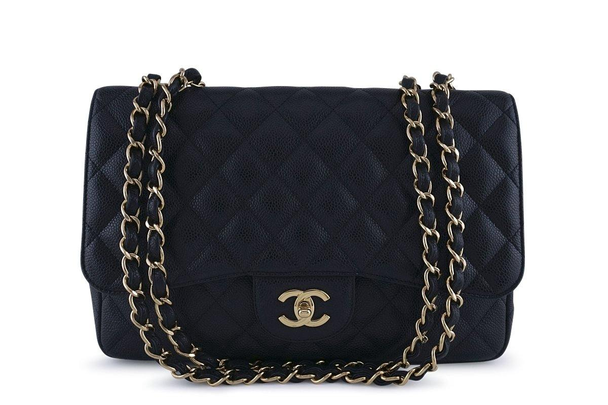 Chanel Black Caviar Jumbo 2.55 Classic Flap Bag GHW