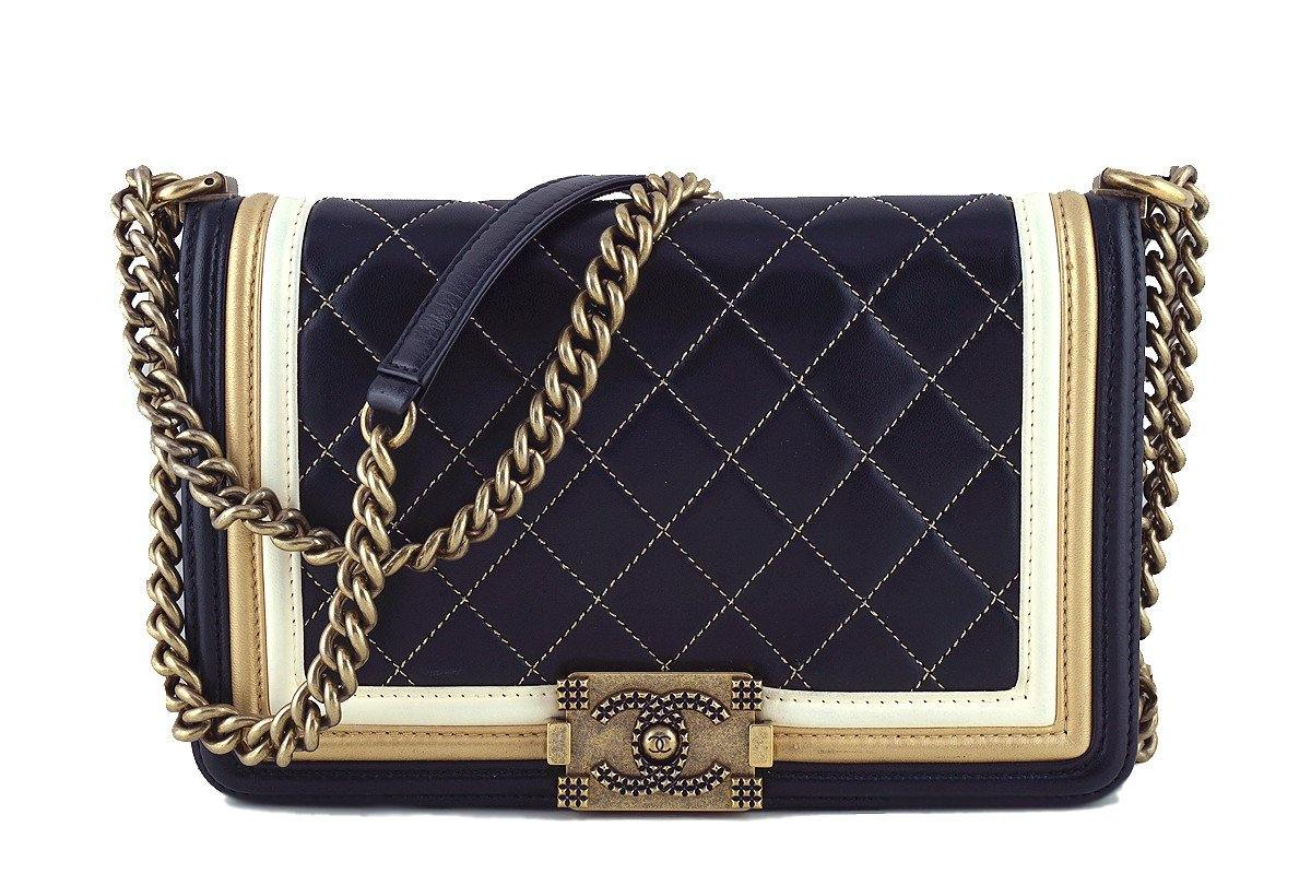 Chanel Black Limited Baroque Gold Framed Le Boy Classic Flap
