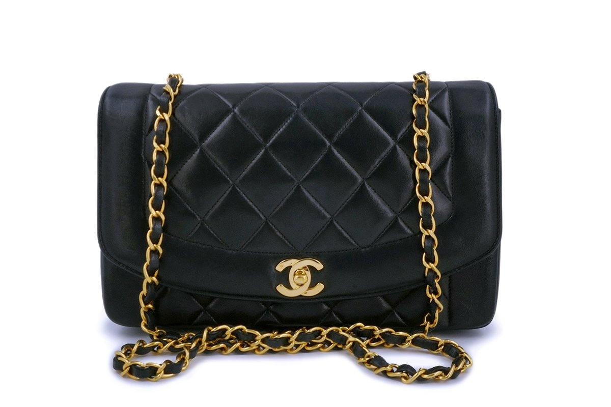 Chanel Black Vintage Lambskin Medium Diana Classic Flap Bag 24k GHW - Boutique Patina