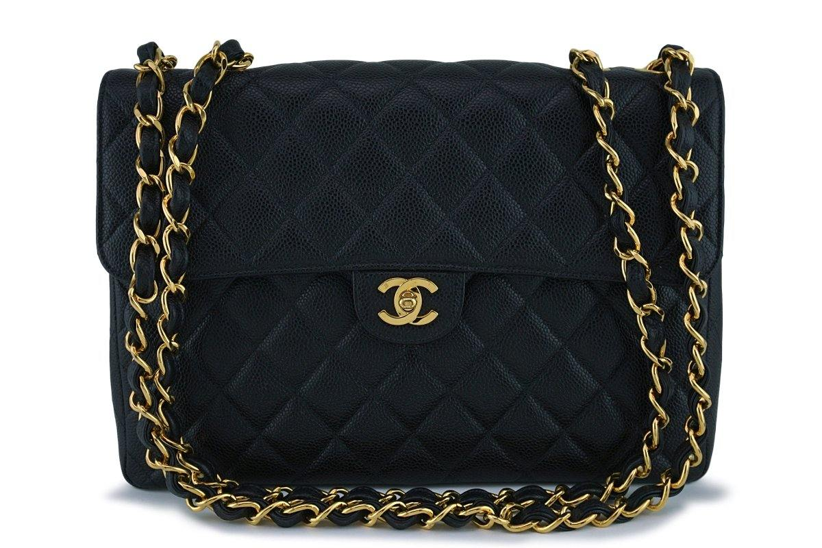 Chanel Black Caviar Jumbo Quilted Classic 2.55 Flap Bag 24k gold plated