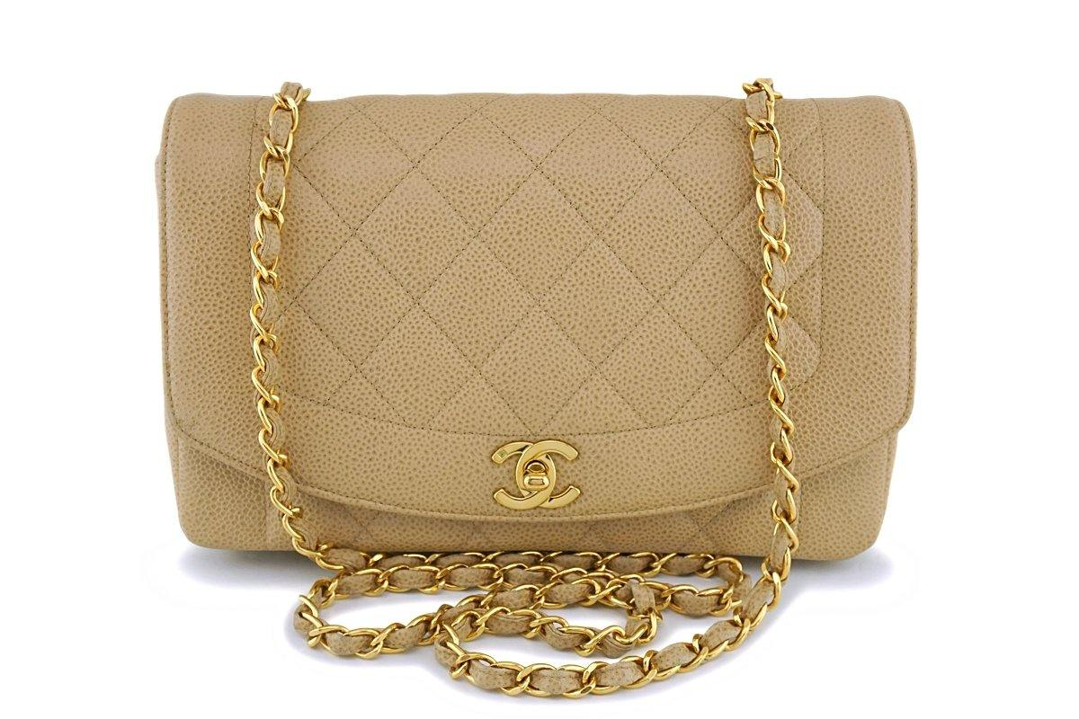 Chanel Vintage Beige Caviar Classic Medium Diana Flap Bag 24k GHW