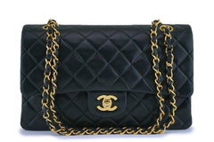 Chanel Vintage Black Lambskin Medium Classic Double Flap Bag 24k GHW