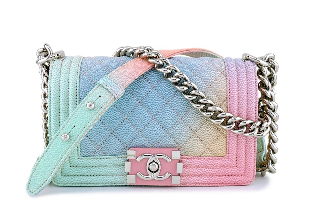 New 18P Chanel Pastel Rainbow Caviar Classic Boy Flap Bag