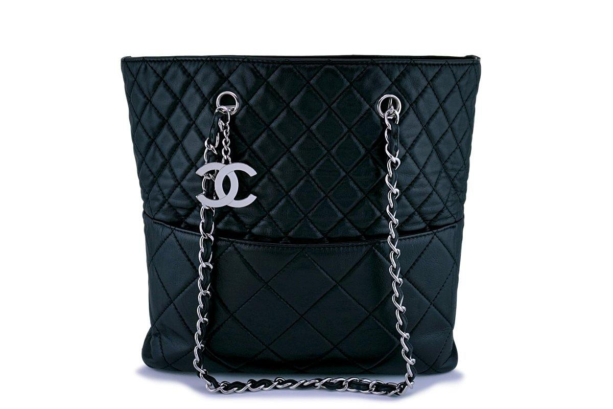 Chanel Black Calfskin In Business Quilted Tote Bag SHW