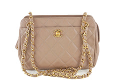 Chanel Taupe Beige Caviar Quilted Classic Camera Case CC Pocket Bag