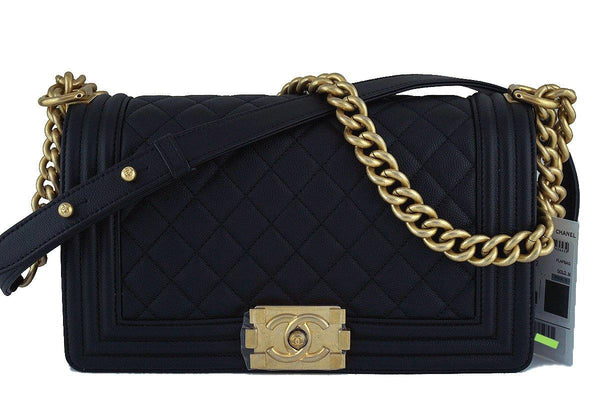 NWT 17A Chanel Black Le Boy Classic Flap, Medium Caviar Bag