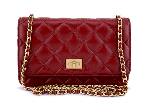 NIB 18P Chanel Red Classic Reissue WOC Wallet on Chain Bag 62844