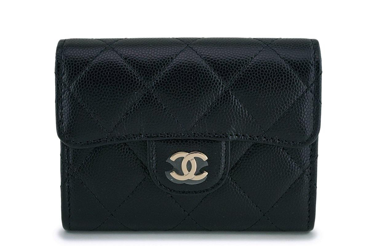 NIB 19B Chanel Black Caviar Classic XL Card Wallet Case GHW
