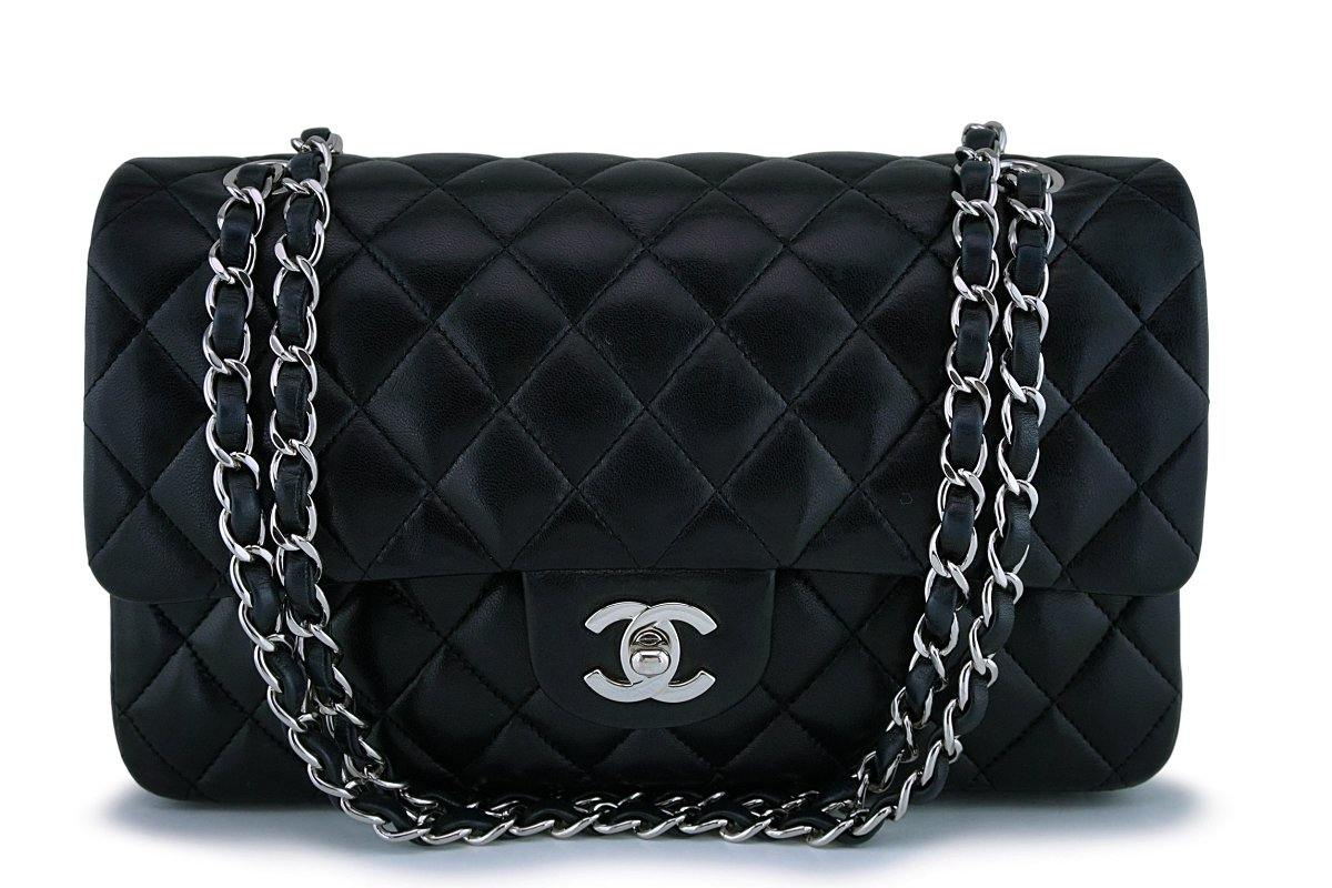 Chanel Black Lambskin Medium Classic Double Flap Bag SHW