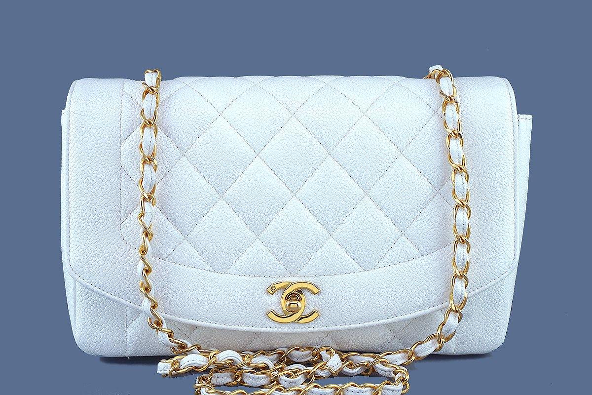 7f53b9be39 Chanel White Caviar Vintage Quilted Classic