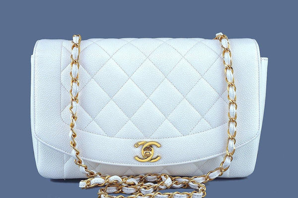 bdc37ca13392 Chanel White Caviar Vintage Quilted Classic