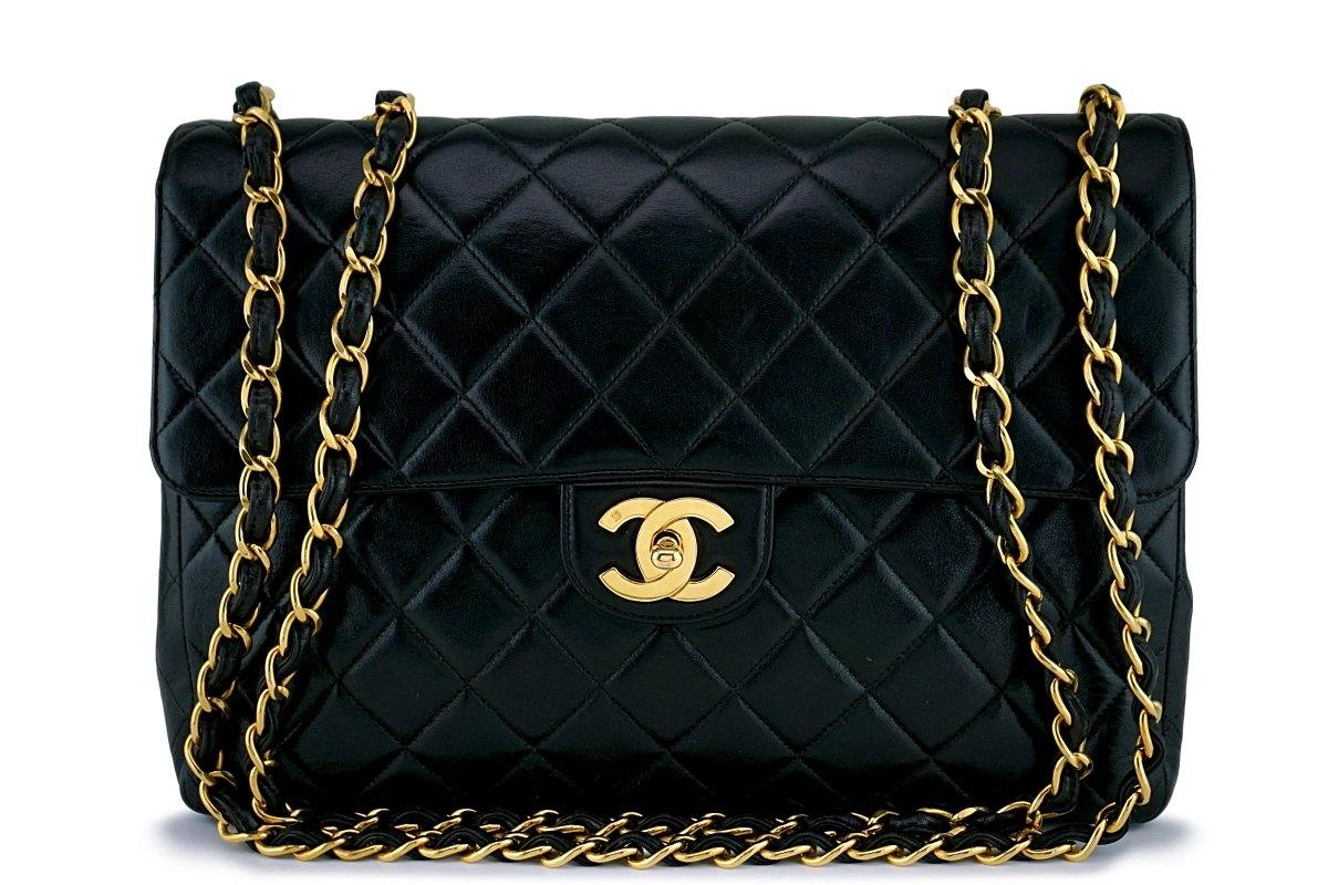 Chanel Black Lambskin Jumbo Quilted Classic Flap Bag 24k GHW